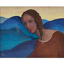 Arnold Franz Brasz, (American, 1888-1966), The Hills, Onya Latour, 1933, oil on canvas, 16