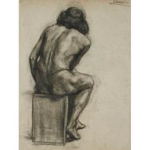 Elizabeth Daniels, (American, 20th century), Nude, charcoal, 23.75
