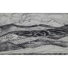 Alfred Gwynne Morang, (American, 1901-1958), Sangre de Christo Mountains (double sided), ink on paper, 4.75