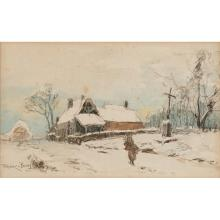 Frank Myers Boggs, (American, 1855-1926), Winter Landscape with Figure, 1903, pencil and watercolor on paper, 9.5