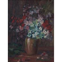 Alice Schille, (American, 1869-1955), Bouquet, oil on canvas board, 13.5