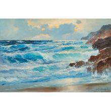 Alexander Dzigurski, (American, 1911-1995), Seascape, oil on canvas, 24