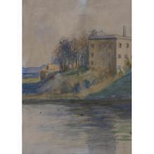 Birger Sandzen, (American, 1871-1954), Building Near Water, watercolor, 14.25