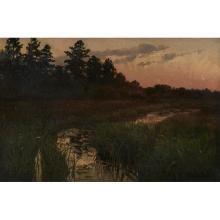 Marie Lokke, (Norwegian/American, 1877-1948), Landscape, oil on canvas laid to board, 19.5