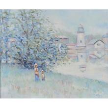 Matthew Albert Miles, (American, b. 1924), Landscape with Children, oil on canvas, 20