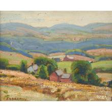 Frank A. Barney, (American, 1862-1954), Landscape with Red Barn, oil on artist board, 8