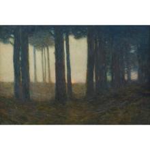 Charles Warren Eaton, (American, 1857-1937), Woods at Evening, watercolor, 20
