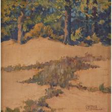 Charles Oglesby Longabaugh, (American, 1885-1944), Landscape, oil on artist board, 7.5