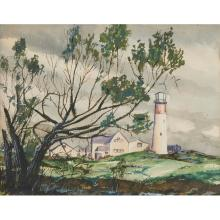 Charles Culver, (American, 1908-1967), Landscape with a Light House, watercolor, 11