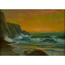 George Howell Gay, (American, 1858-1931), Sunset on a Rocky Shore, oil on canvas, 10