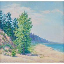 M.P. Lowell, (American, 20th century), Landscape with Dunes, oil on board, 24