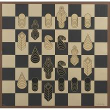 Victor Vasarely, (French/Hungarian, 1906-1997), Chess, color serigraph, 28.5
