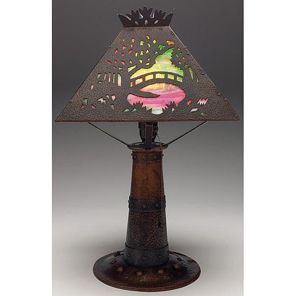 Benedict Studios lamp, hammered copper