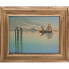 Charles (Carl) Schmidt (1875-1959) for Rookwood Pottery On the Grand Canal-Venice plaque plaque: 12.5