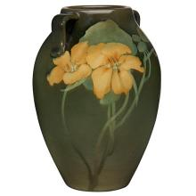 Irene Bishop (1881-1925) for Rookwood Pottery Nasturtiums vase, #604E 4.5