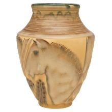 William E. Hentschel (1892-1962) for Rookwood Pottery Horses vase, #6193C 6.5