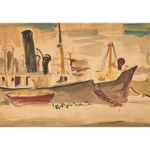 Ludwig Bemelmans, (American, 1898-1962) (American, 1898-1962), Habana Tramp Steamer, 1956, watercolor, 20