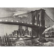 Richard Bergere, (American, b. 1912), Twilight Over Brooklyn Bridge, together with prints by Bertram Goodman, Charles Cobelle, Nat L...