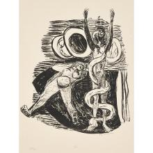 Max Beckmann, (German, 1884-1950), Sundenfall (pl. 14 from Day and Dream), 1946, lithograph, 11.75