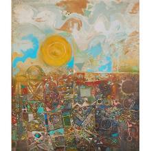 Alexander Skunder Boghossian, (Ethiopian/American, 1937-2003), Ancient Fog, 1975, oil on canvas, 59