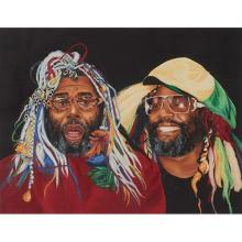 Charles Lilly, (American, b. 1949), George Clinton, acrylic and airbrush on board, 23