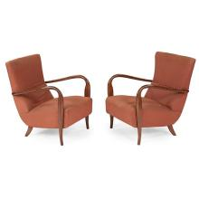 Italian, maker unknown lounge chairs, pair 23.5''w x 26''d x 31''h