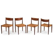 Danish, designer unknown dining chairs, four 18.5