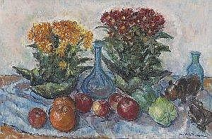 Edna Wolff (Henner) Maschgan (American, 1907-2001), 'Still Life with Fruit and Flowers', c. 1950; oil/canvas, 24in. x 3in, signed; labels verso from the Palette and Chisel Academy of Fine Art (Chicago), the annual Harriet Bitterley Award Show.