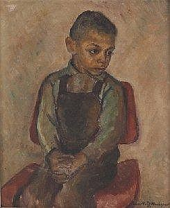 Edna Wolff (Henner) Maschgan (American, 1907-2001), 'Young Boy in Eames Chair', c. 1948; oil/board, 24in. x 20in, signed.