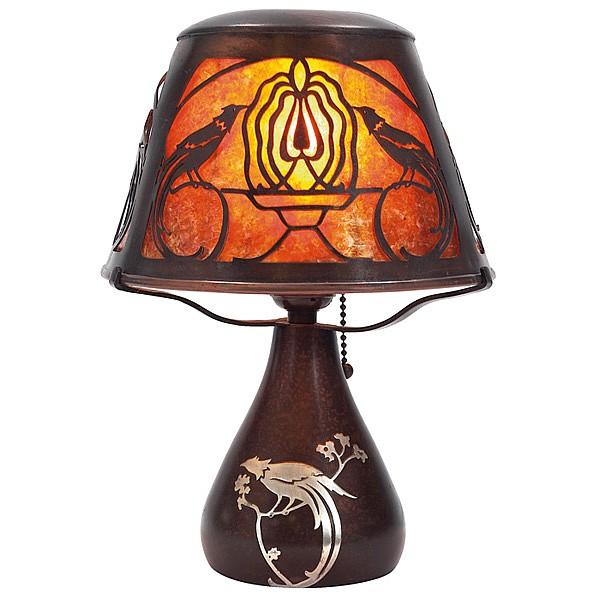 Heintz boudoir lamp, Bird of Paradise, mica, silver