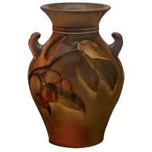 Constance A. Baker (1860-1932) for Rookwood Pottery Cherry Branch double handled vase, #588F 4