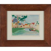 Franz Revesz-Ferryman, (Hungarian/American, 1893-1983), Village Bridge, 1922, ed. 15, color stencil, image: 7.5