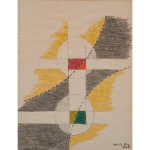 László Moholy-Nagy, (Hungarian, 1895-1946), Untitled, June 1946, crayon and ink on paper, 18