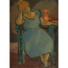 Leonard Maurer, (American, 1912-1976), Seated Woman, 1947, oil on canvas, 21.5