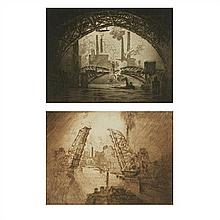 Joseph Pennell, (French, 1860-1926), The Jaws and Under the Bridge (a pair of works), etching, 9.25