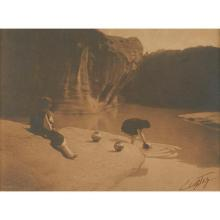 Edward Sheriff Curtis, (American, 1868-1952), At the Old Well of Acoma, 1904, platinum print, mounted, 5.75