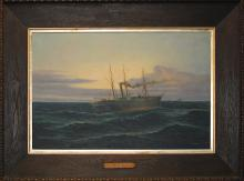 Steam Yacht 'Aurora'. Oil painting by Harold Dalton Hall
