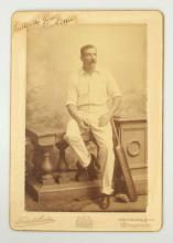 Cricket. George GIFFEN: 1890s portrait photograph (SIGNED)