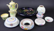 A large Royal Stanley ware bowl, decorated with fruit, 27cm; a Royal Doulton Azalea pattern coffee pot and cover, jug and sugar bowl and six pieces of Poole pottery (qty)