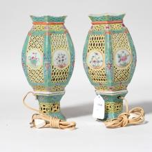 A Pair Chinese Antique Porcelain Lamp