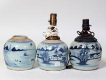 A Set Of Three Antique BW Porcelain Jar Lamps