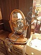 Mahogany oval swing toilet mirror