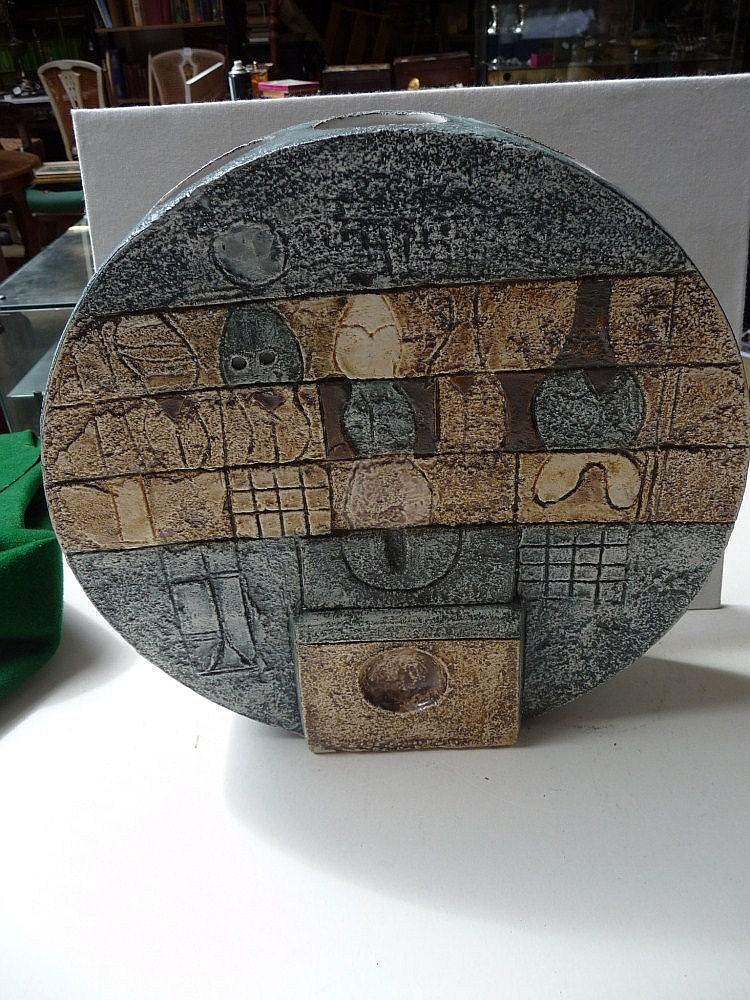 Troika. A large circular moon vase, signed to base