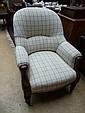 A William IV mahogany framed open armchair