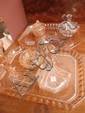 A pressed glass 1930's dressing table set x 2