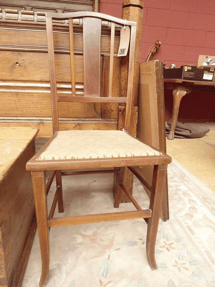 Single Edwardian inlaid mahogany bedroom chair