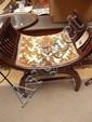 Edwardian mahogany x framed stool