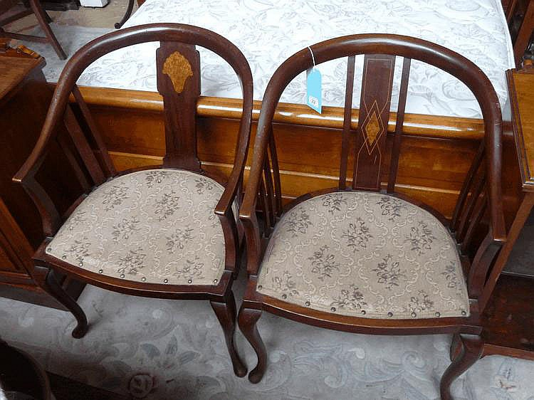 Two Edwardian inlaid mahogany armchairs
