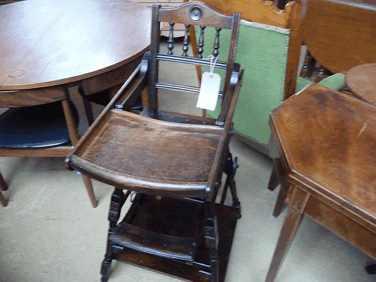 An Edwardian child's metamorphic high chair