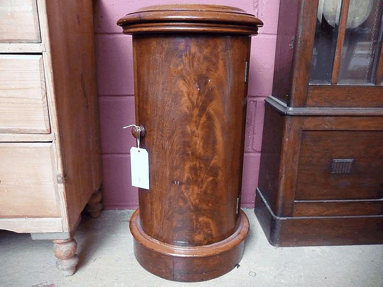 A late Victorian cylindrical mahogany pot